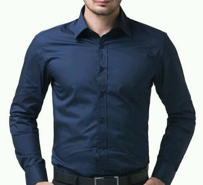 Navy Blue Cotton Slim Fit Solid Formal Shirt - pricegrill.com