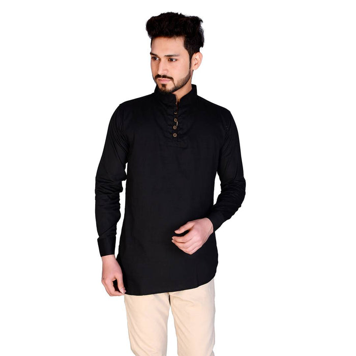 Stylish Black Solid Cotton Full Sleeves Short Kurta For Men