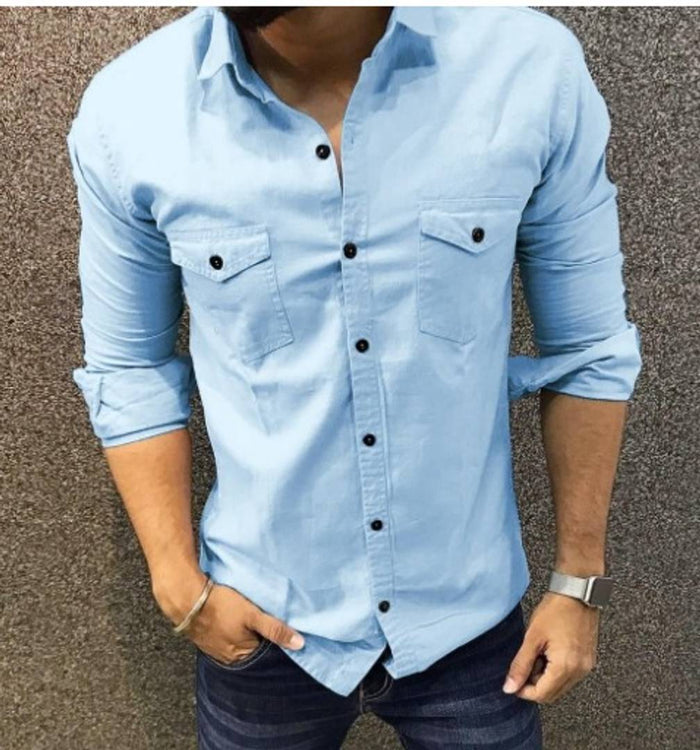 Men Cotton Long Sleeves Solid Casual Shirt
