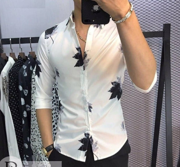 Men's White Printed Polycotton Long Sleeves Casual Shirts
