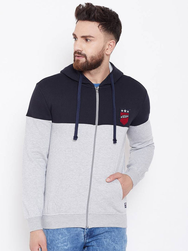 Grey Men's Colour-block Full Sleeve Hooded Sweatshirt