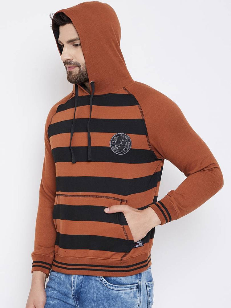 Orange Men's Stripes Full Sleeve Hooded Sweatshirt