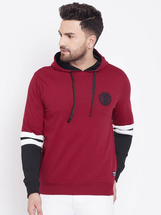 Maroon Men's Solid Full Sleeve Hooded Sweatshirt
