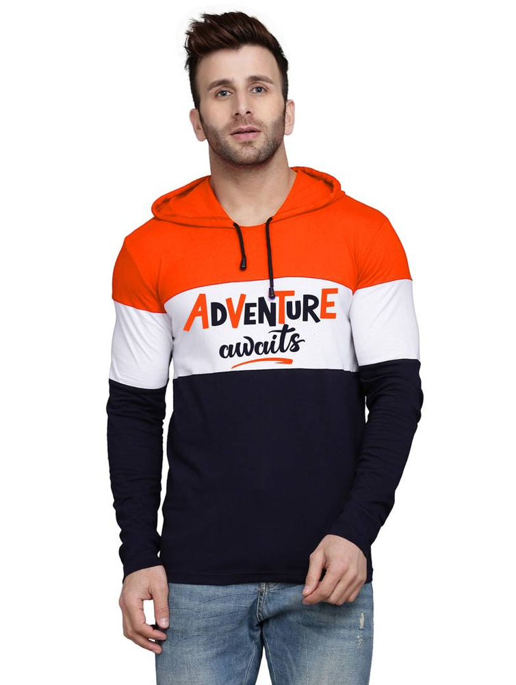 Trendy Orange Colourblocked Cotton Blend Hooded T-Shirt For Men
