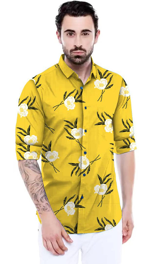 Stylish Yellow Satin  Casual Shirt for Men