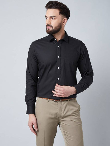 Modern Black Cotton Solid Casual Shirt For Men - pricegrill.com