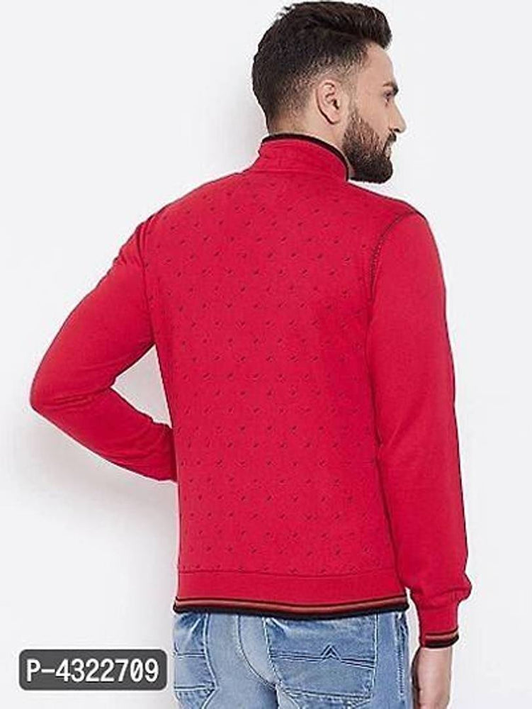 Stylish Red Printed Cotton Blend Long Sleeves Sweatshirt For Men
