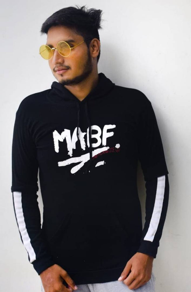 Stylish Black Printed Cotton Hooded Sweatshirt For Men