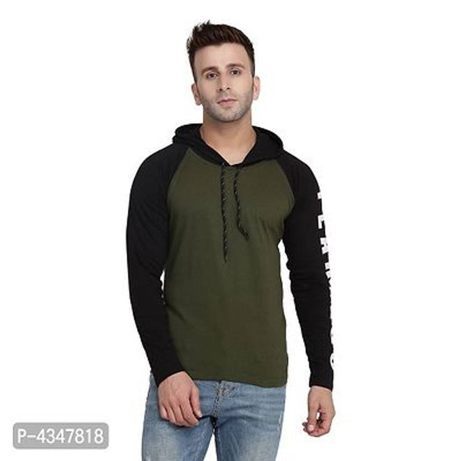 Olive Green Printed Cotton Hooded T-Shirt