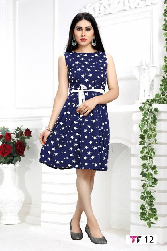 Stylish Crepe Sleeveless Star Printed Dress For Women