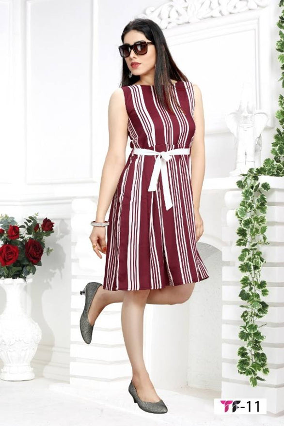 Stylish Crepe Sleeveless Striped Dress For Women