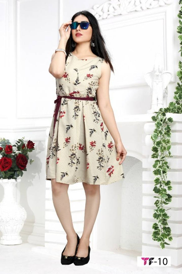 Stylish Crepe Beige Sleeveless Floral Printed Dress For Women