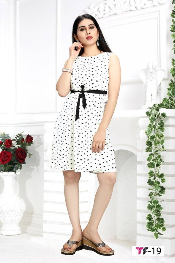 Stylish Crepe Sleeveless Polka Dot Printed Dress For Women