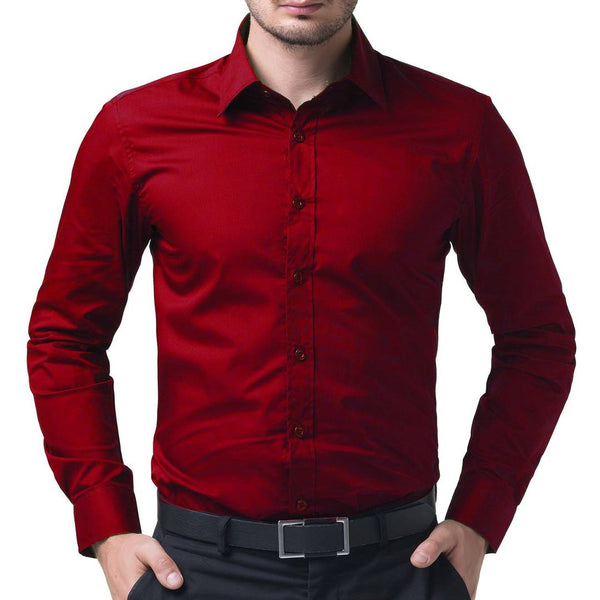 Men's Red Cotton Solid Long Sleeves Regular Fit Casual Shirt - pricegrill.com