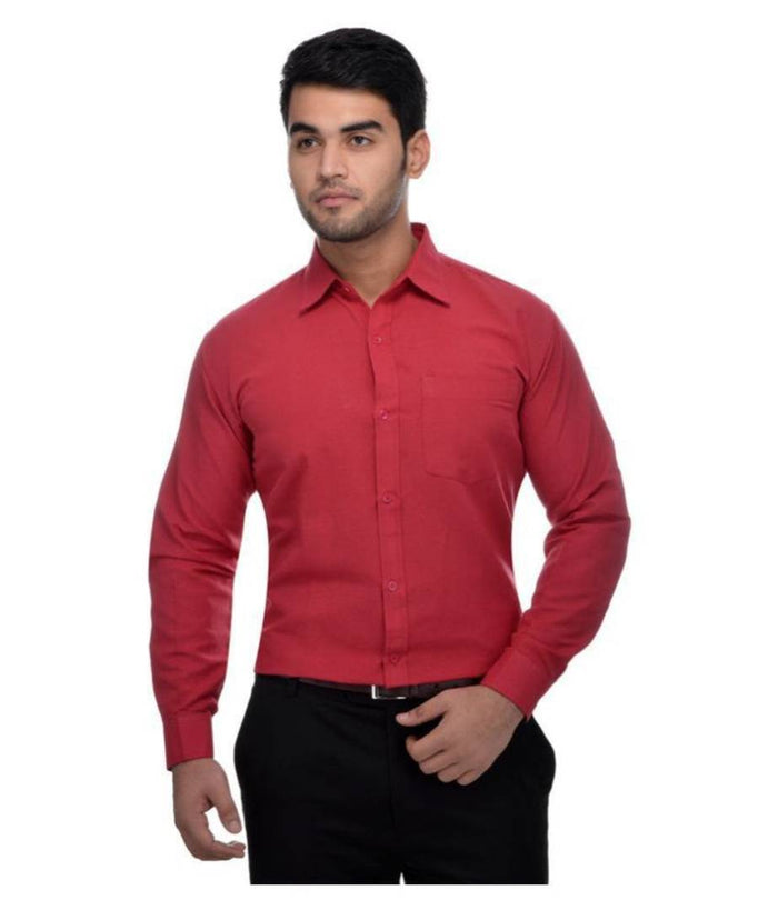 Men's Red Khadi Full Solid Regular Fit Formal Shirts - Single