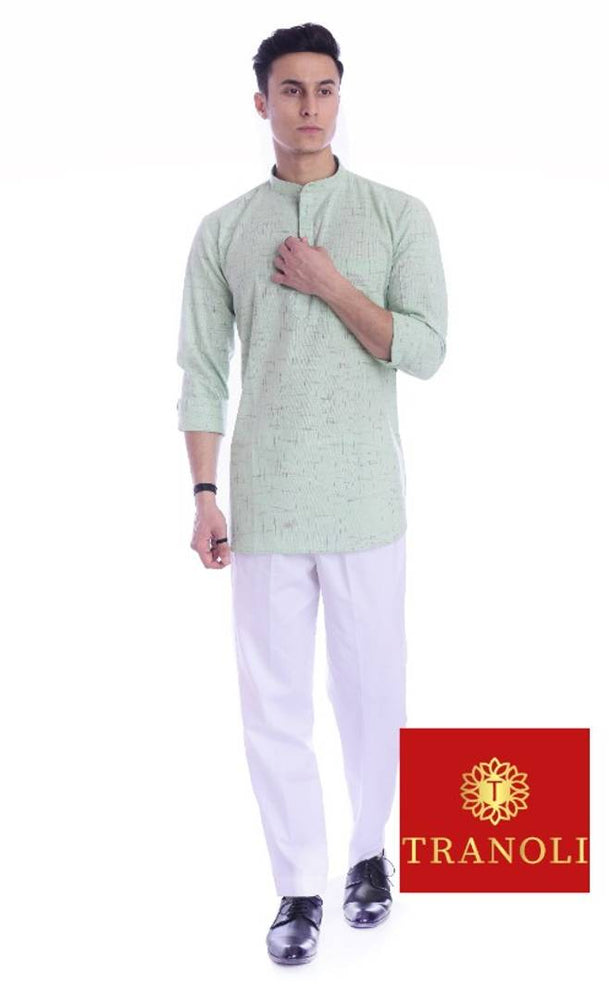 Classy Green South Cotton Textured Short Kurta For Men - pricegrill.com