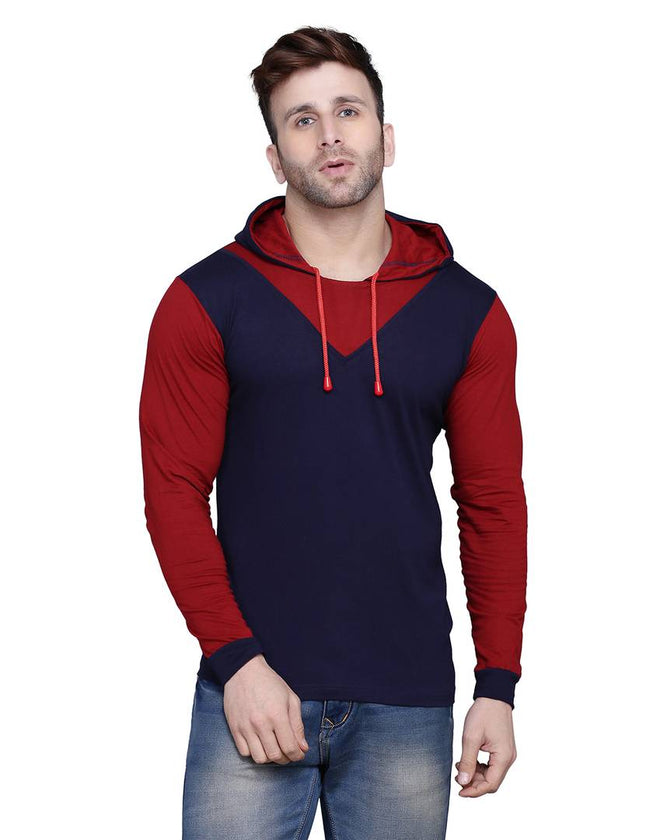 Stylish Cotton Blend Navy Blue Solid Hooded T-shirt For Men