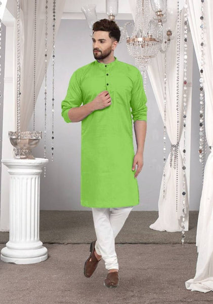 Cotton Solid Long Length Kurta For Men