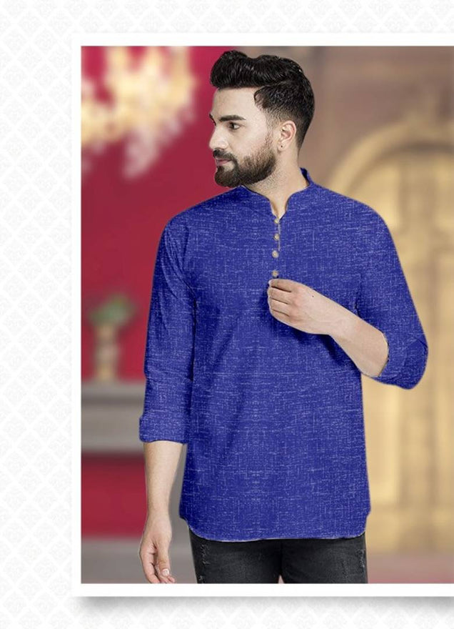 Stylish Blue Cotton Solid Short Kurtas For Men