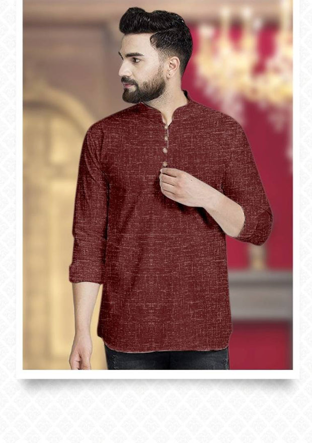 Stylish Maroon Cotton Solid Short Kurtas For Men