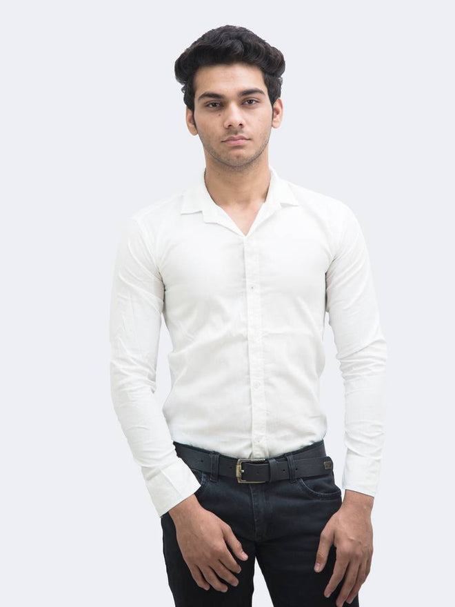 Men's White Cotton Blend Solid Long Sleeves Slim Fit Formal Shirt - pricegrill.com