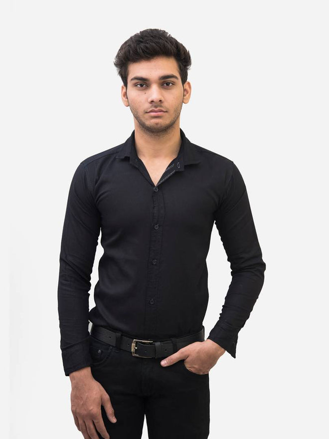 Men's Black Cotton Blend Solid Long Sleeves Slim Fit Formal Shirt - pricegrill.com