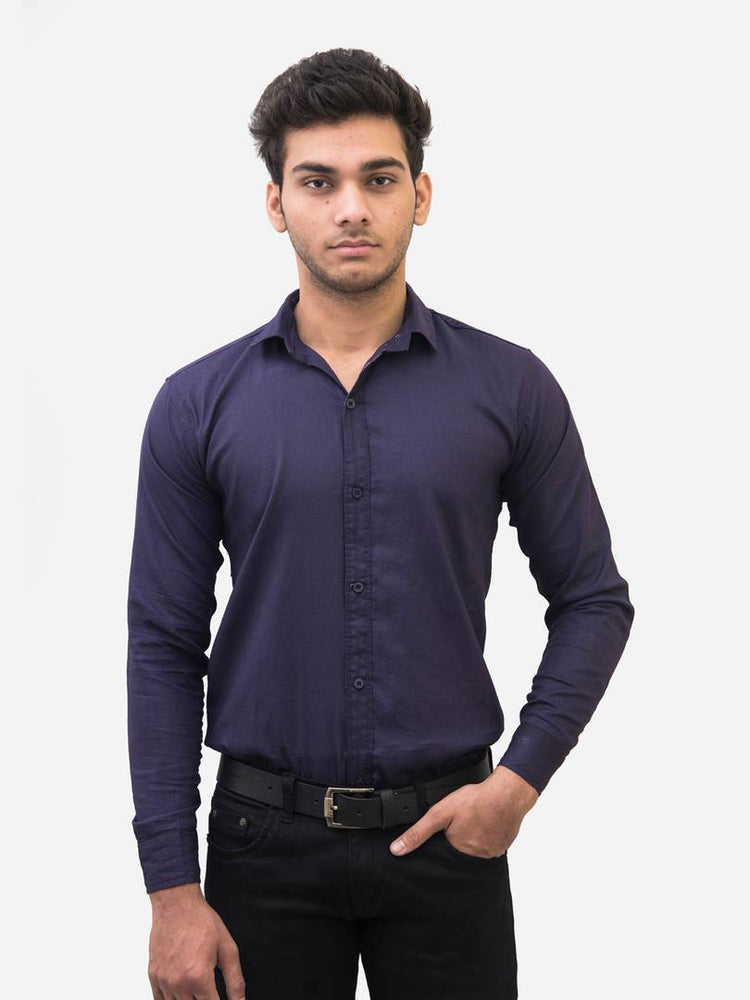 Men's Navy Blue Cotton Blend Solid Long Sleeves Slim Fit Formal Shirt - pricegrill.com