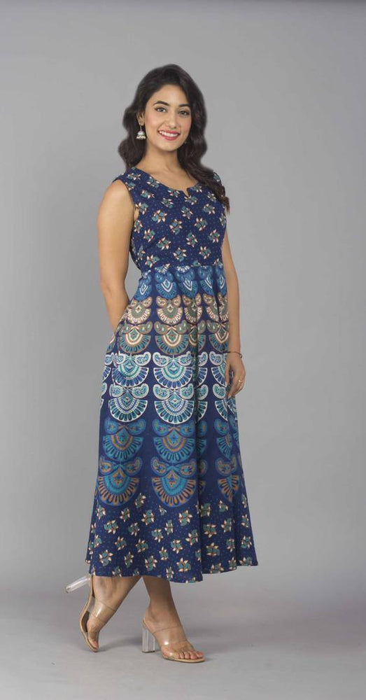 Women's Ankle Length Printed Blue Cotton A-Line Dress - pricegrill.com