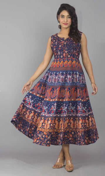 Women's Ankle Length Printed Multicoloured Cotton A-Line Dress - pricegrill.com