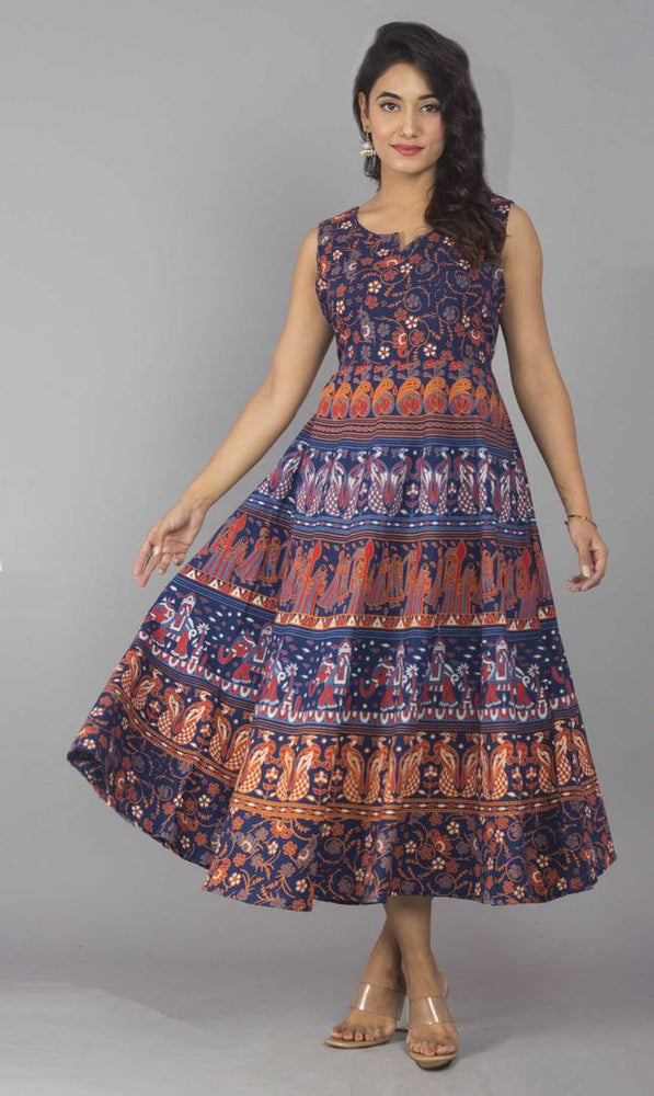 Women's Ankle Length Printed Multicoloured Cotton A-Line Dress