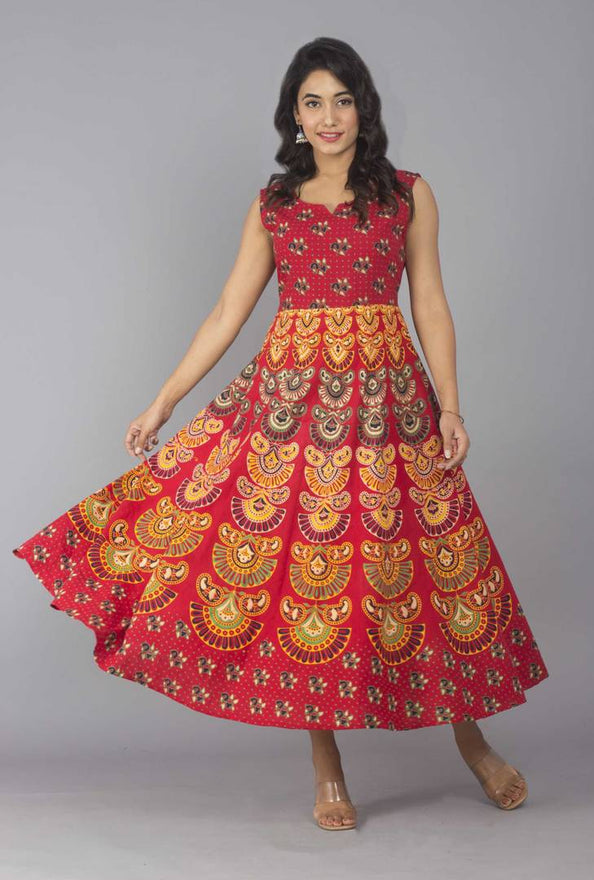 Women's Ankle Length Printed Red Cotton A-Line Dress - pricegrill.com