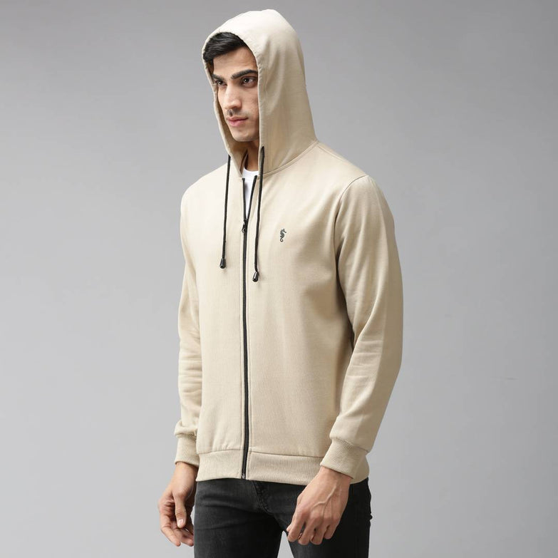 Stylish Polycotton Fleece Beige Solid Hoodies Sweatshirt For Men