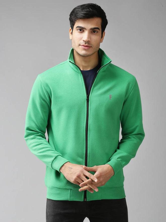 Stylish Polycotton Fleece Solid Green Long Sleeves Sweatshirt For Men