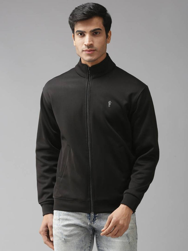 Stylish Polycotton Fleece Solid Black Long Sleeves Sweatshirt For Men