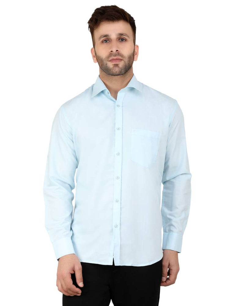 Men's Blue Cotton Solid Long Sleeves Regular Fit Formal Shirt