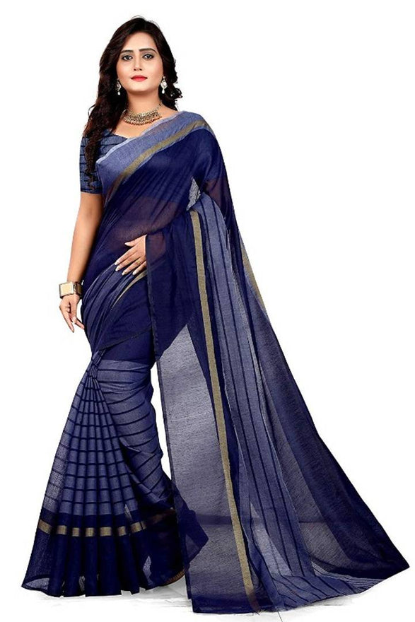 Women's Beautiful Chanderi Cotton Saree with Blouse piece - pricegrill.com