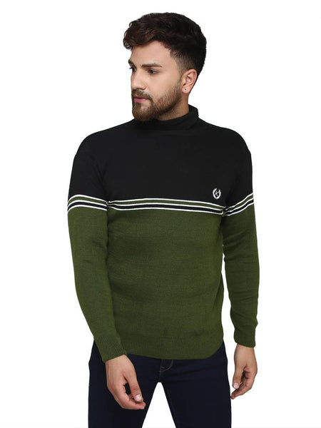 Self Design Black Synthetic Long Sleeves Turtle Neck  Sweaters