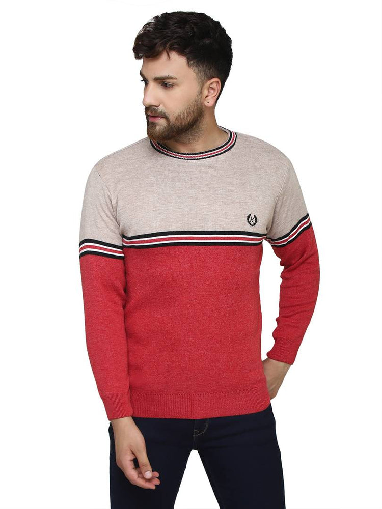 Striped Red Synthetic Long Sleeves Turtle Neck  Sweaters - pricegrill.com