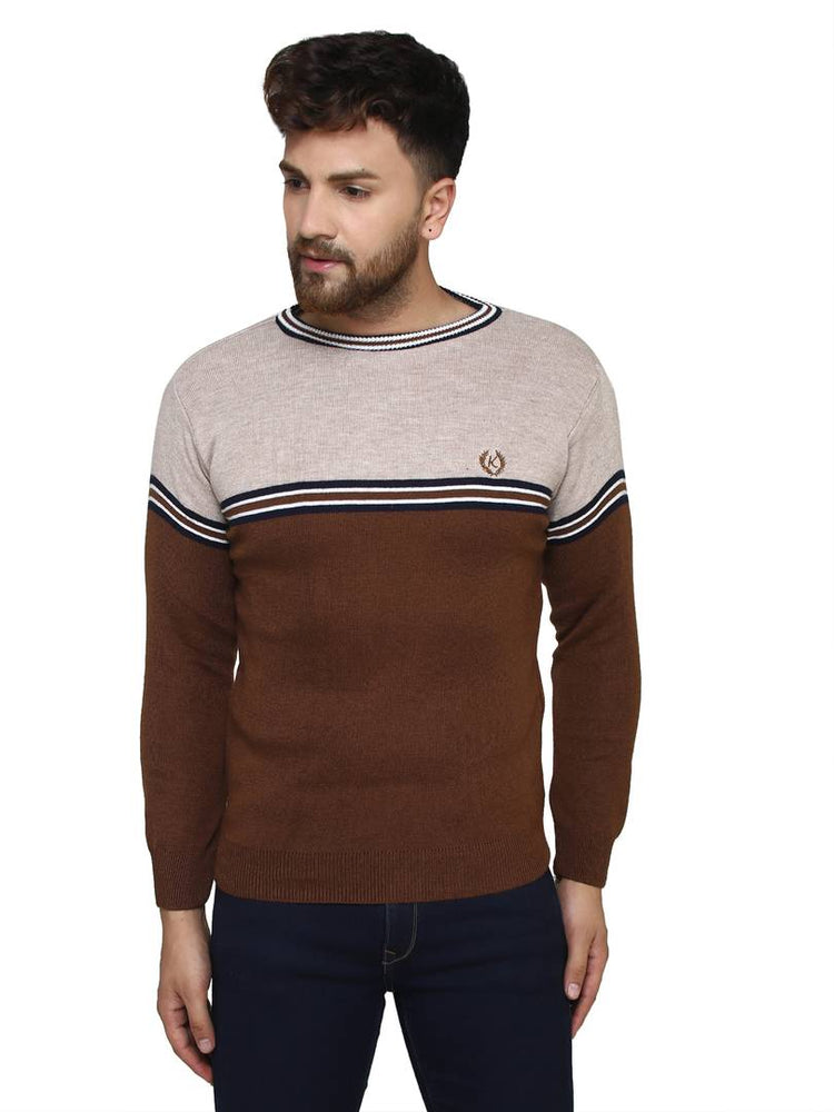 Striped Brown Synthetic Long Sleeves Turtle Neck  Sweaters - pricegrill.com