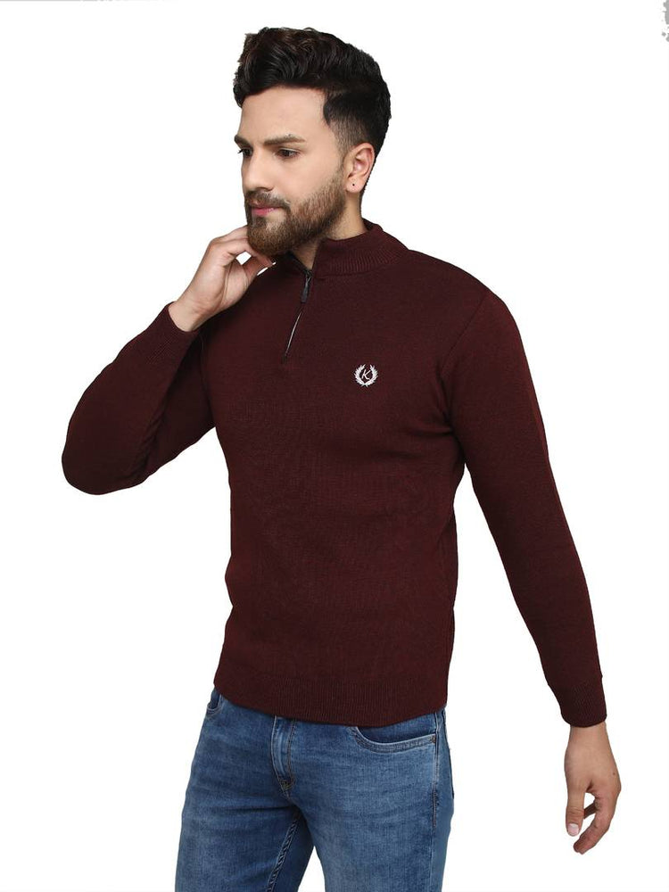 Solid Maroon Synthetic Long Sleeves Turtle Neck  Sweaters - pricegrill.com