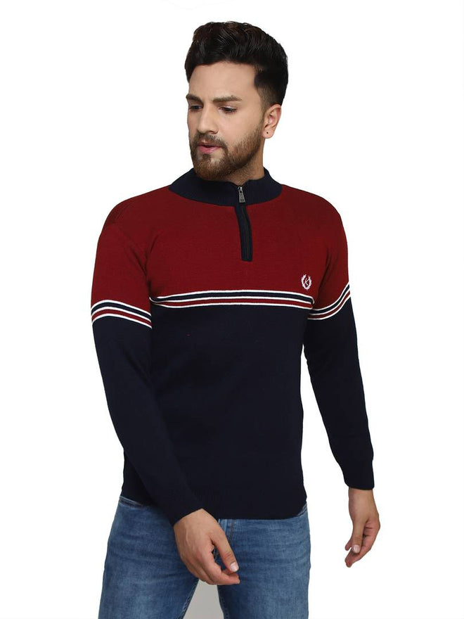 Striped Maroon Synthetic Long Sleeves Turtle Neck  Sweaters