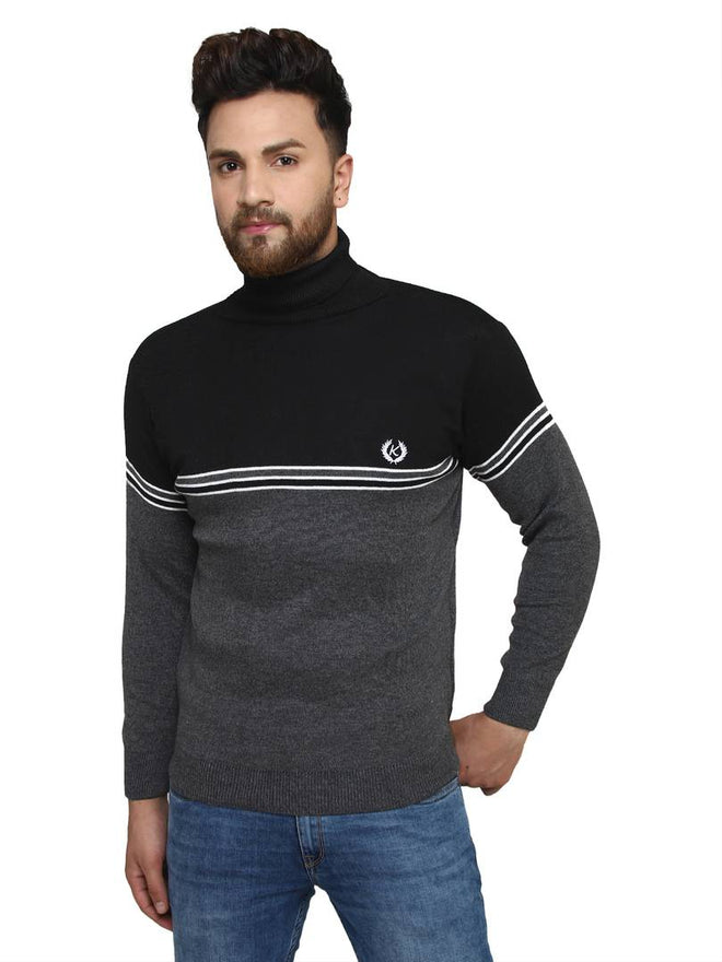 Striped Black Synthetic Long Sleeves Turtle Neck  Sweaters
