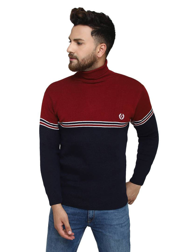 Striped Maroon Synthetic Long Sleeves Turtle Neck  Sweaters - pricegrill.com