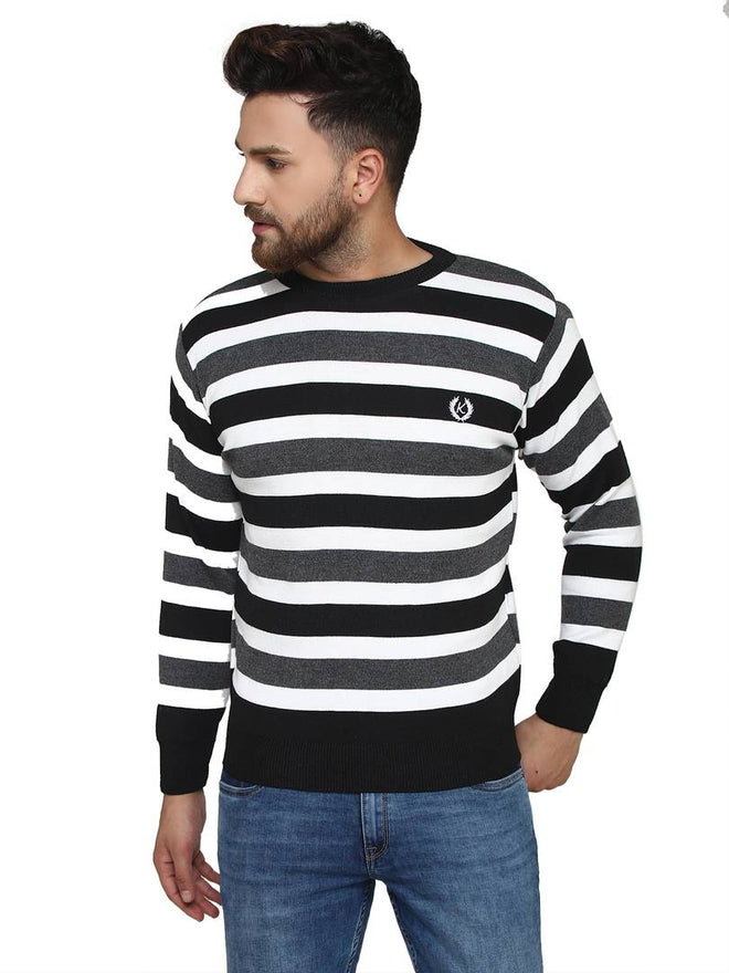 Striped Black Synthetic Long Sleeves Turtle Neck  Sweaters - pricegrill.com