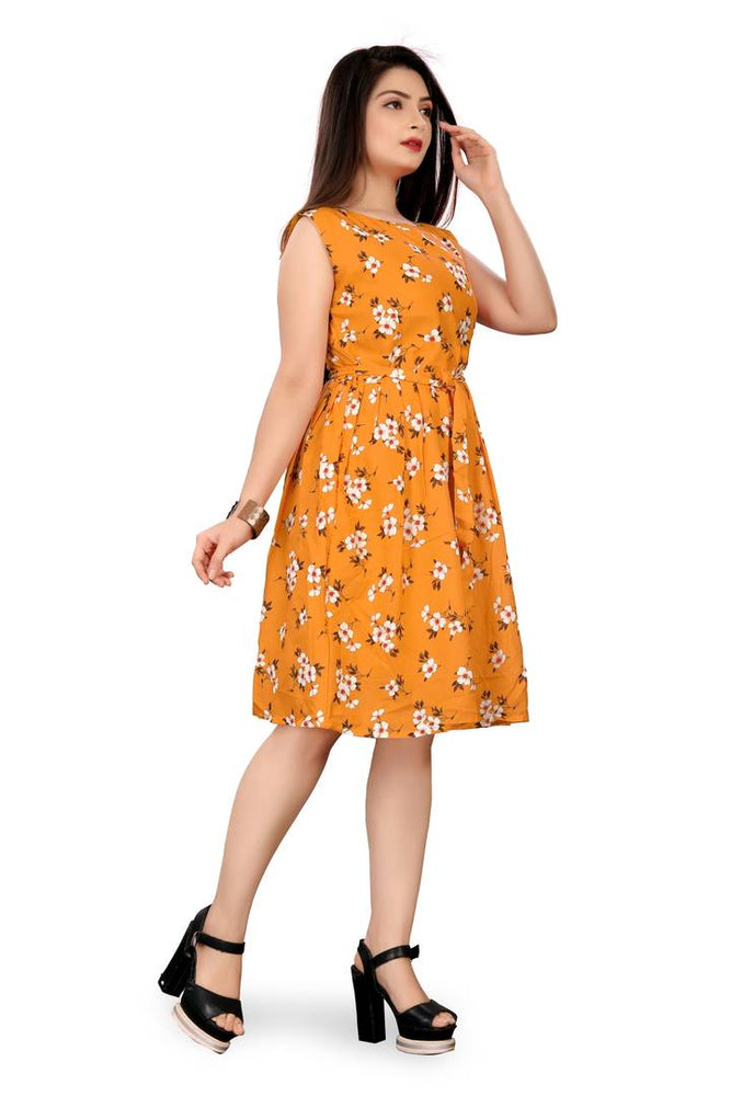 Stylish Yellow Crepe Printed Knee Length Dress For Women