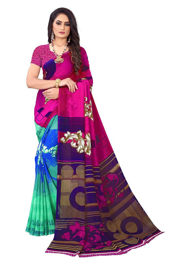Elite Multicoloured Georgette Printed Daily Wear Saree with Blouse piece - pricegrill.com