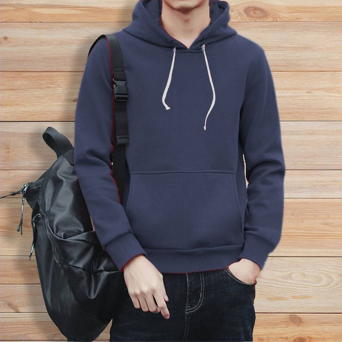 Elite Navy Blue Cotton Solid Pullover Hoodies For Men