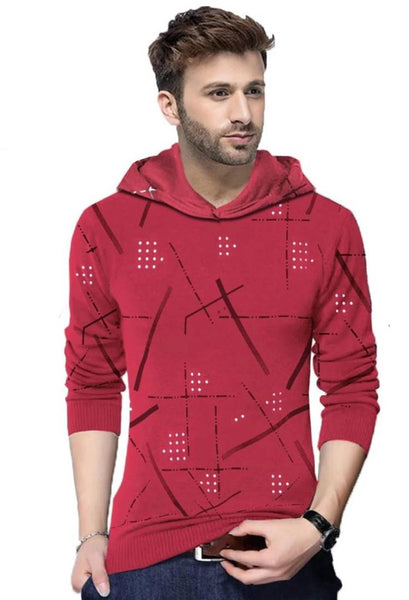 Stylish Maroon Printed Cotton Blend Hooded Tees For Men