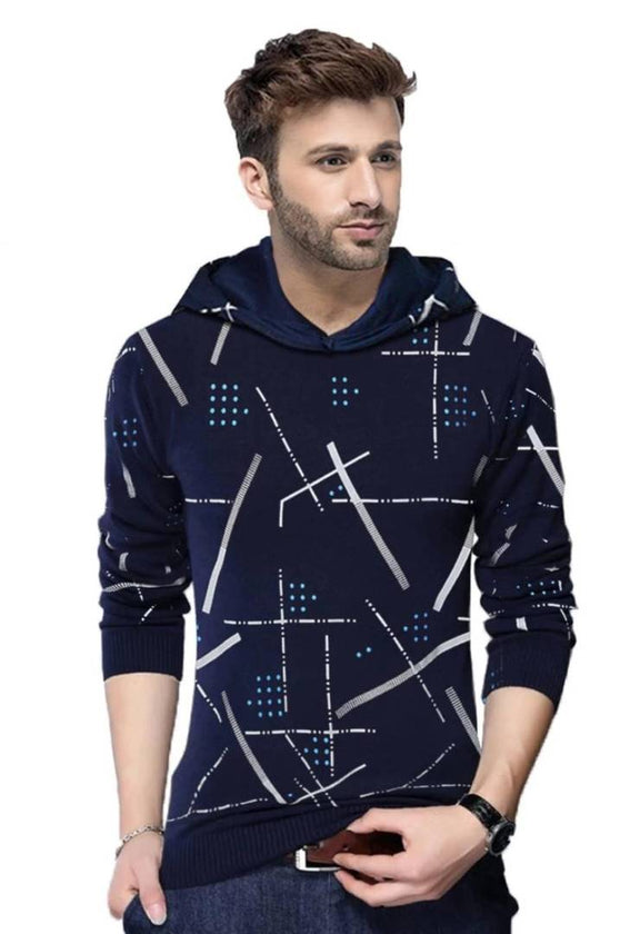 Stylish Navy Blue Printed Cotton Blend Hooded Tees For Men