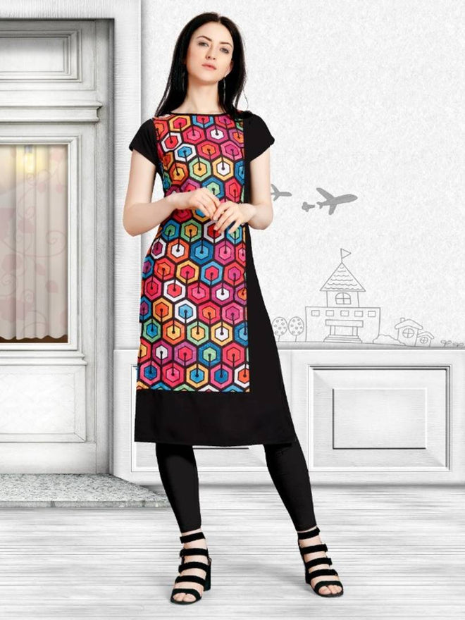 Polyester Crepe Solid Straight Kurta For Women's - pricegrill.com
